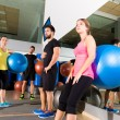 Gym people group relaxed after fitball training — Stok fotoğraf #47228343