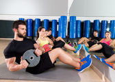 Abdominal plate training core group at gym — Stock Photo