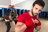 Boxing aerobox man portrait in fitness gym — Stock Photo