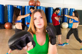 Boxing aerobox woman portrait in fitness gym — Stock Photo