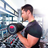 Dumbbell man at gym workout biceps fitness — Stock Photo