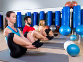 Pilates people group the seal exercise group — Stock Photo