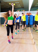 Zumba dance cardio people group at fitness gym — Stock Photo