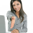 Beautiful indian brunette businesswoman laptop — Stock Photo #5498148