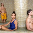Couple young in cool spa water pool after sauna — Stock Photo #5511535