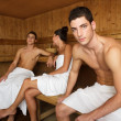 Sauna spa therapy young group in wooden room — Stock Photo #5511548