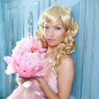Blond fashion princess and vintage flowers dress — Stock Photo #8700339