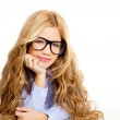 Blond fashion kid girl with glasses portrait on white — Stock Photo #8807836