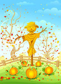 Funny scarecrow — Stock Vector