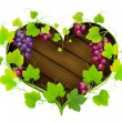 Grapes with leaves in the form of heart — Imagen vectorial