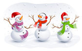 Funny Snowmen. Vector illustration — Stock Vector