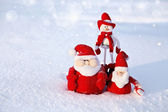 Christmas Snowman and Santa — Stock Photo