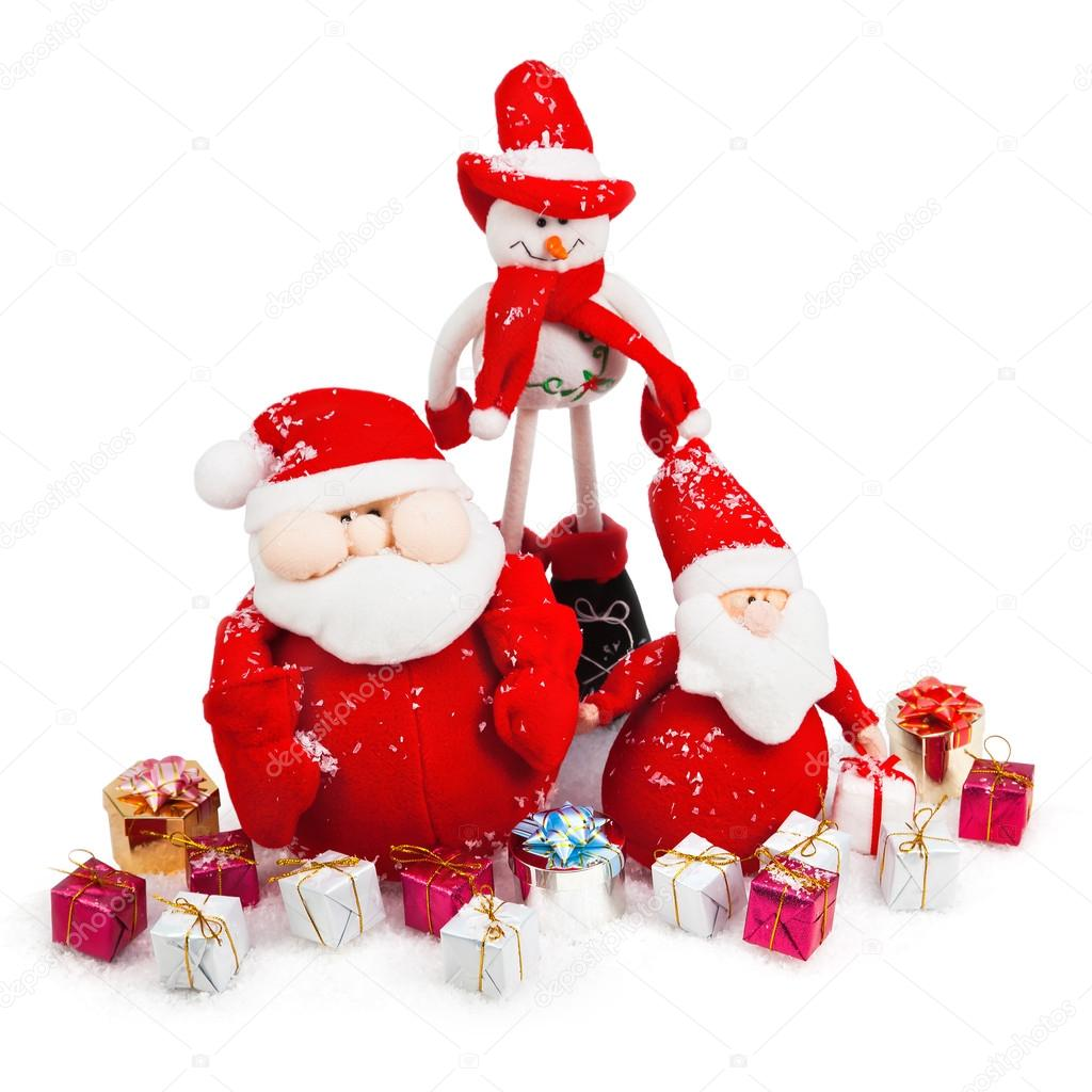 Christmas Santa and Snowman with gifts isolated on white  Stock Photo #16858749