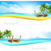 Paradise Island backgrounds — Stock Vector