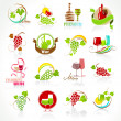 Collection of wine icons — Stock Vector