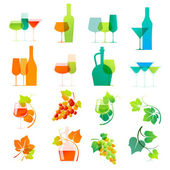 Colorful wine icons — Stock Vector