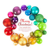 Christmas wreath of colored balls — Stock Photo