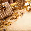 Christmas gifts and decorations — Stock Photo