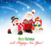 Santa and snowmen — Zdjęcie stockowe
