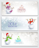 Christmas banners with snowmen — Stock Vector