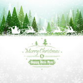 Santa Claus with reindeer — Stock Vector
