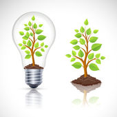 Green plant in light bulb with reflection — Stock Vector