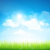Zielona trawa i błękitne niebo — Wektor stockowy