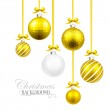 Christmas balls with yellow ribbon and bows — Stock Vector #51660007