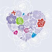 花のベクトル心 — ストックベクタ