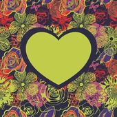 Floral vector heart — Stockvektor