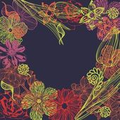 Cuore floreale vettoriale — Vettoriale Stock