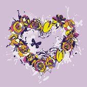 Floral vector heart — Stock Vector