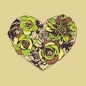 Floral vector heart — Stockvector