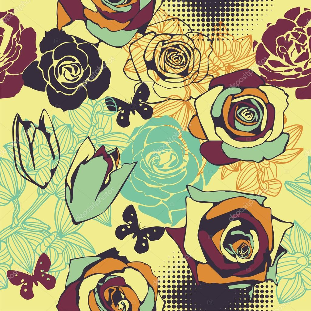 Vector texture consist of colorful flowers. Vector illustration — ベクター素材ストック #18593813