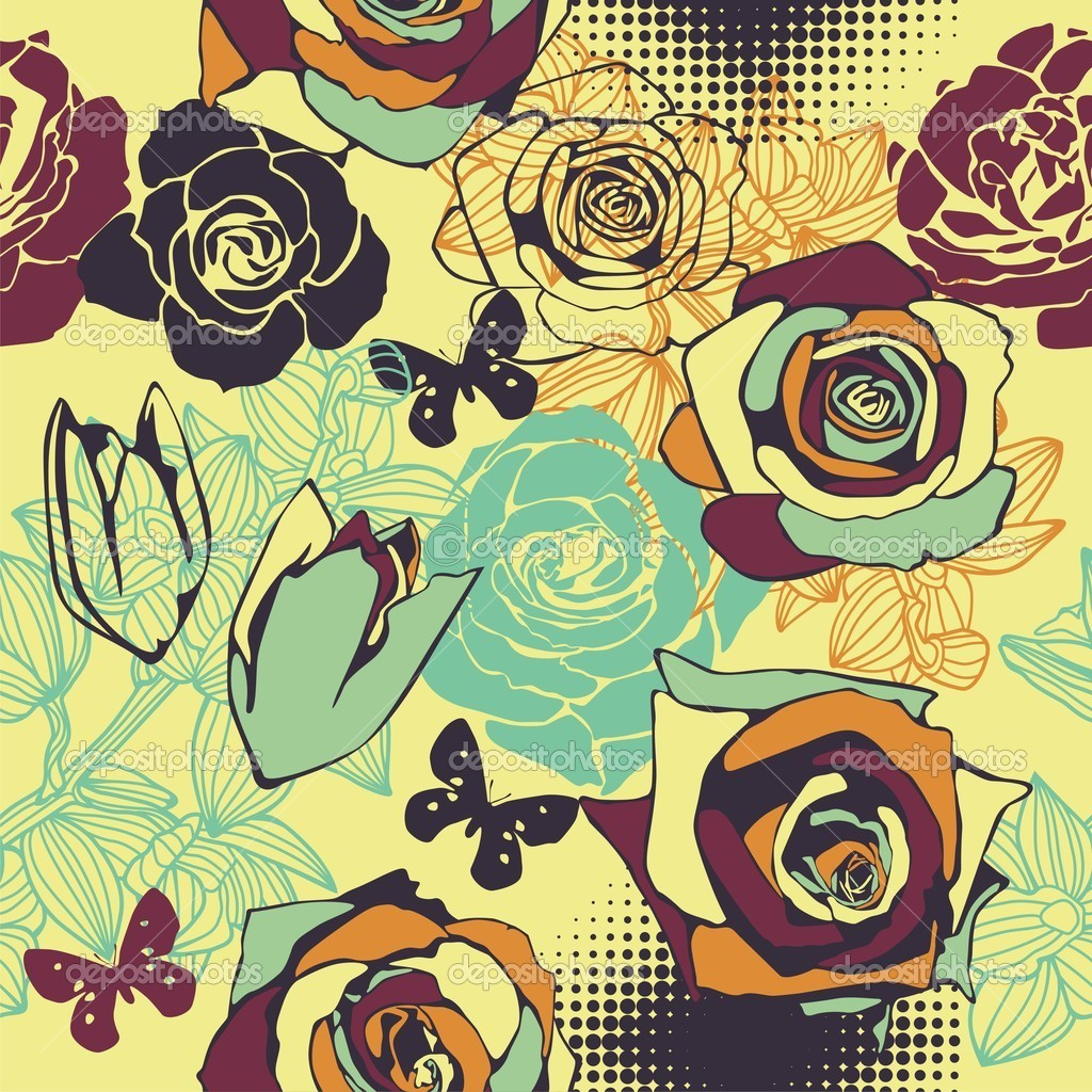 Vector texture consist of colorful flowers. Vector illustration  Vettoriali Stock  #18593813