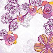 Floral postcard — Vecteur