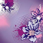 Carte postale floral vector — Vecteur