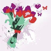 Cartão postal floral vetor — Vetor de Stock