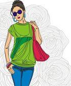 Fashion girl — Wektor stockowy