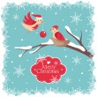 Christmas card with birds - Stock Vector