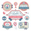 Vector de stock : Valentine's day decorative labels
