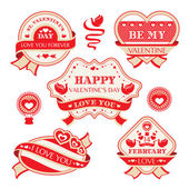 Valentine's day decorative labels — Stok Vektör
