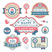 Valentine's day decorative labels — Vettoriale Stock