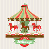 Greeting card with carousel — Stock Vector