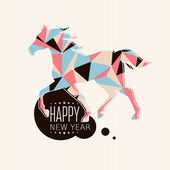 New year card with horse — Stock Vector