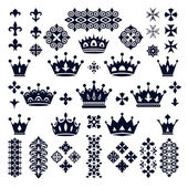 Set of crowns and decorative elements — Stock Vector