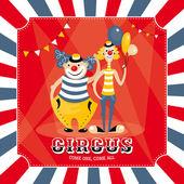 Vector card with clowns — Stock Vector