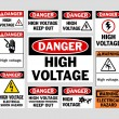 Danger High Voltage signs — Stock Vector