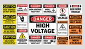 Danger High Voltage signs — Vector de stock
