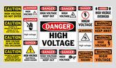 Señales de peligro alto voltaje — Vector de stock